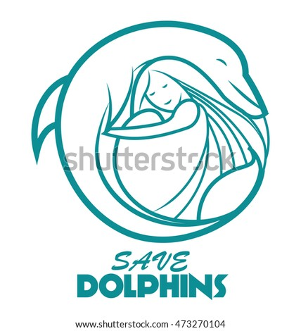 vector logo  label dolphin with