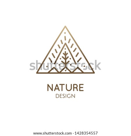 Vector logo mountains and tree. Simple minimal emblem. Linear icon of landscape with tree, sun, three hills - business emblems, badge for travel, farming and ecology concepts, health and yoga Center