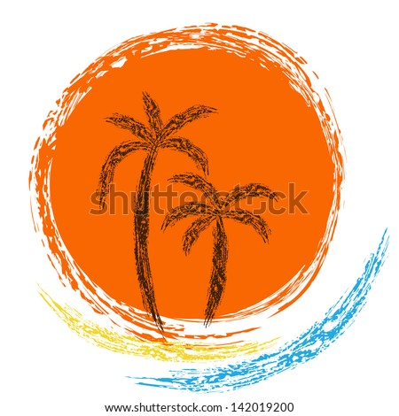 Vector logo. ocean waves, palm trees and sun