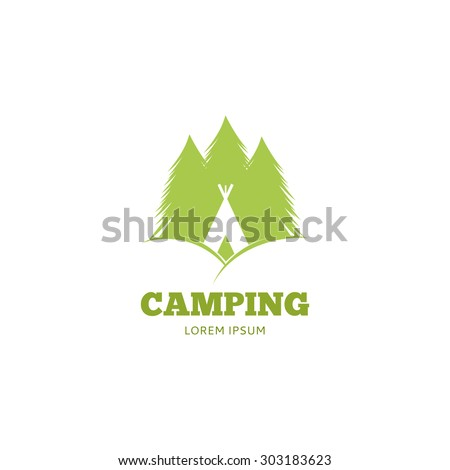 Vector logo of camping. Template icon of trees and igloo.