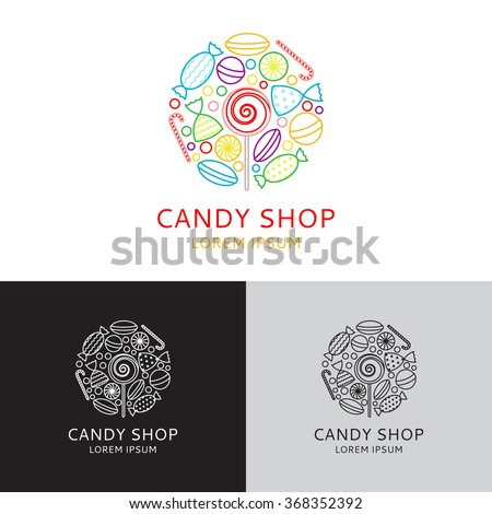 vector logo of candy shop in