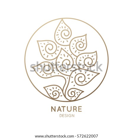 Vector logo of floral element. Abstract flower in round icon. Linear emblem for design of natural products, flower shop, cosmetics and ecology concepts, health, spa and yoga, holistic medicine Center.