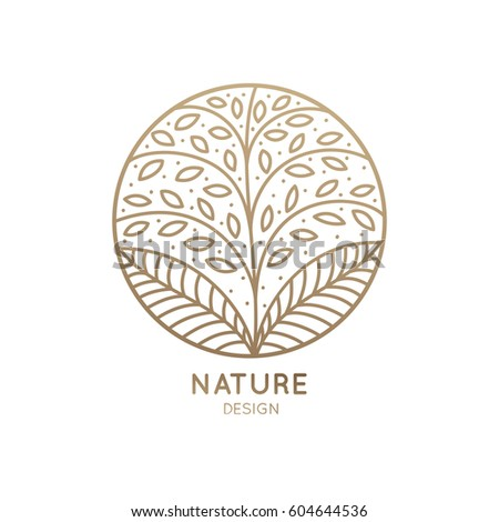 Vector logo of floral element. Abstract tree with leafs in circle. Linear round emblem for design of natural products, flower shop, cosmetic and ecology concepts, health, spa and yoga Center.