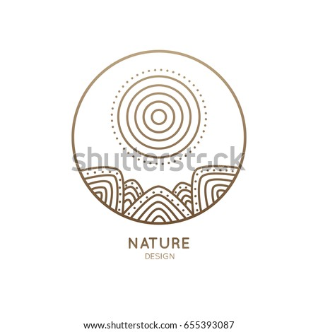 Vector logo of nature elements in a circle. Abstract linear icon of landscape with mountains and sun - business emblems, badge for a travel, tourism and ecology concepts, health and yoga Center.
