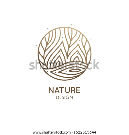 Vector logo of nature elements in linear style. Linear icon of landscape with fields and trees with river or lake - business emblems, badge for a travel, farming and ecology concepts, health and yoga Center.