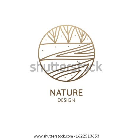 Vector logo of nature elements in linear style. Linear icon of landscape with trees and fields with river, or lake - business emblems, badge for a travel, farming and ecology concepts, health and yoga Center.