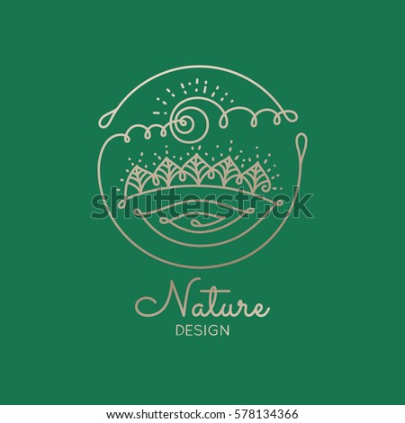 Vector logo of nature elements on green background. Linear icon of landscape with trees, river, sun - business emblems, badge for a travel, farming and ecology concepts, health and yoga Center.
