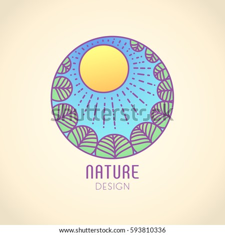 Vector logo of nature elements on vintage background. Linear icon of landscape with trees and sun - business emblems, badge for a travel, farming and ecology concepts, health and yoga Center.