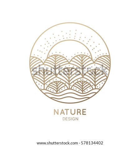 Vector logo of nature elements on white background. Linear icon of landscape with trees and sun - business emblems, badge for a travel, farming and ecology concepts, health and yoga Center.