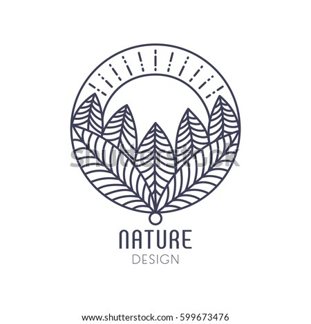 Vector logo of nature elements on white background. Linear icon of landscape with trees and sun in circle- business emblems, badge for a travel, farming and ecology concepts, health and yoga Center.
