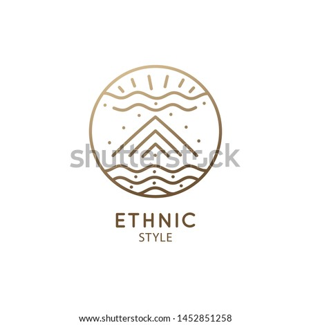Vector logo of nature geometric elements, mountain, clouds, river. Sacred round symbol, pictogram. Minimal icon of abstract landscape, business emblem for design, esoteric, tattoo, astrology, yoga