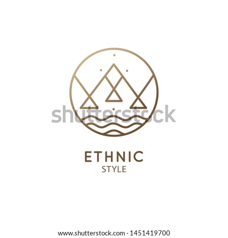 Vector logo of nature geometric elements, mountains and river. Sacred round symbol, pictogram. Minimal icon of abstract landscape, business emblem for design, esoteric,tattoo, astrology, yoga Center