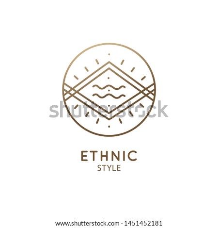 Vector logo of nature geometric elements, mountains and river. Sacred round symbol, pictogram. Minimal icon of abstract landscape, business emblem for design, astrology,esoteric,tattoo,yoga Center