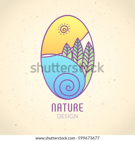 Vector logo of nature on vintage background. Linear oval icon of landscape with trees, river and sun. Business emblem, badge for a travel, farming and ecology concepts, health and yoga Center.