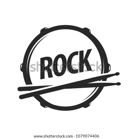 Vector logo of rock school. Black illustration on white background in EPS10.