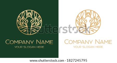 Vector logo of the goddess of fertility. Perfect for a beauty salon, natural cosmetics, medical products.