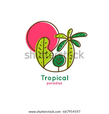 Vector logo of tropical forest with red sun on white isolated background. Linear emblem of palm and trees for design of business, holiday, travel agency, ecology concept, tourism, adventure and rest.