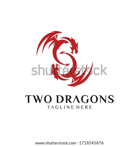 vector logo of two dragons