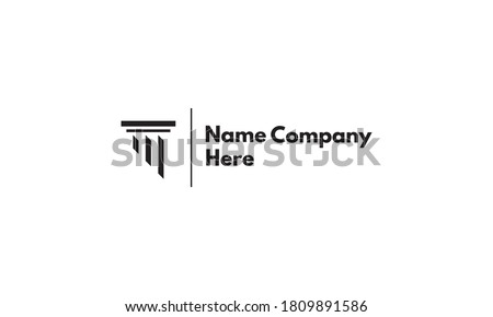 Vector logo on which an abstract image of a Greek column with an oblique shadow.