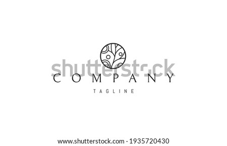 Vector logo on which an abstract image of a tree in a circle in a childish style.