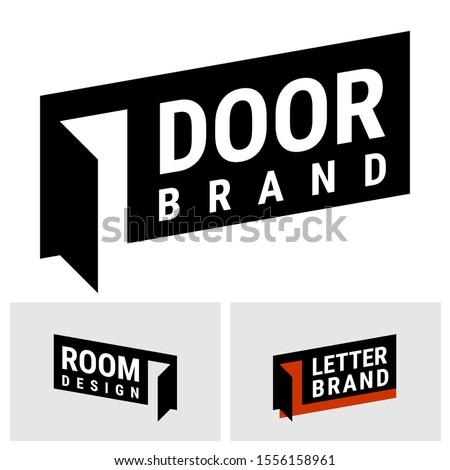 Vector logo open door. This logo for door inudtriy, interior design, office furniture, web design works or various brands. L Letter logo alternative. Photo stock ©