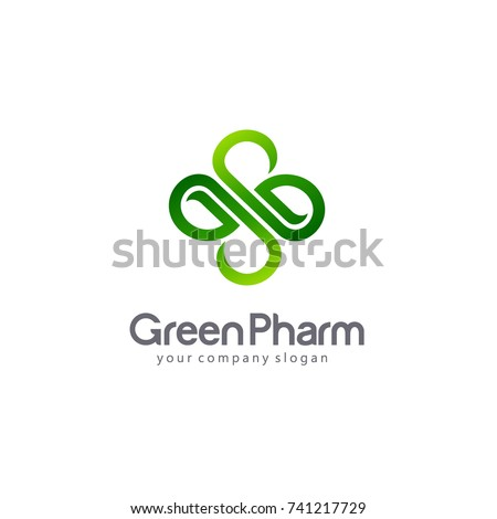 Vector logo pharmacy. Eco, bio, organic emblem