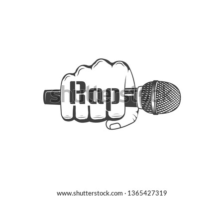 Vector logo. Rap music A hand is holding a microphone. Emblem, symbol, element. Musical performance logo. Stock foto ©