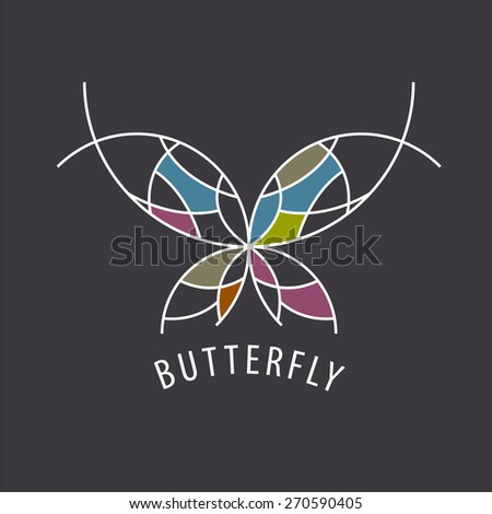 vector logo schematic butterfly