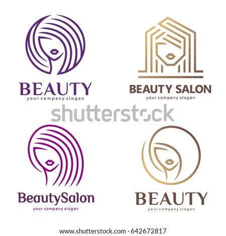 Vector logo set for beauty salon, hair salon, cosmetic