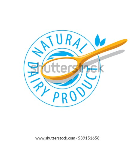 vector logo spoon with milk product