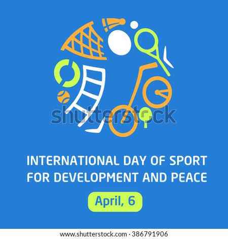 Vector logo sports school, club, shop for sports, competition sports. Silhouettes of a man sporting equipment. International day sport for development and peace. Symbolism, conceptual and brevity.
