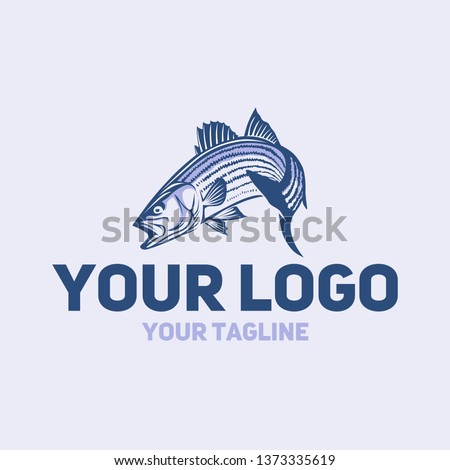 vector logo striped bass fishing