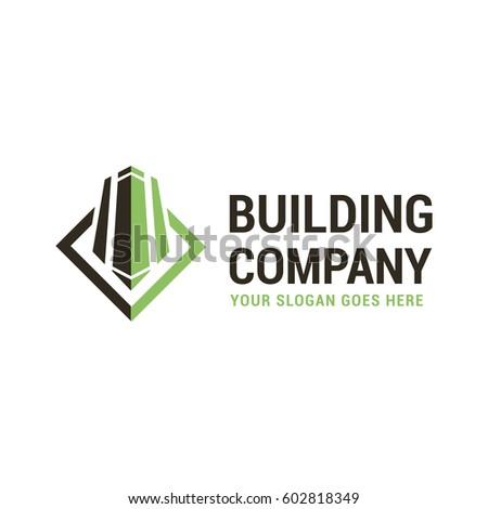 Vector logo template for building company. Illustration of a skyscraper half green, half black. Architecture icon. Building label. EPS10.