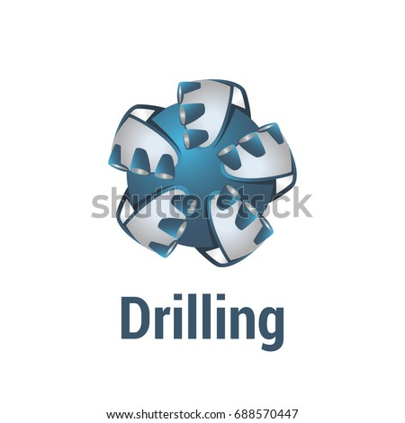 Vector logo template for drilling company. Drill bit icon. EPS10. 3d logotype for geological prospecting isolated on white background.