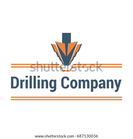 Vector logo template for drilling company. Illustration of drill bit isolated on white background. Geological prospecting icon. EPS10. Horizontal drilling sign.