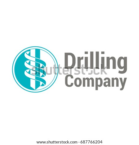 Vector logo template for drilling company. Rotating drill icon. EPS10. Simple and style logotype for geological prospecting.