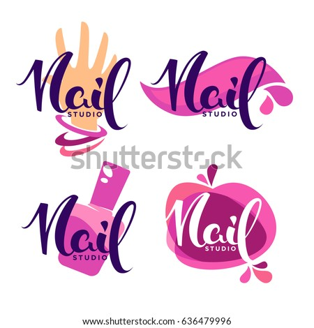 vector logo template for your Nail Studio and manicure salon with lettering composition