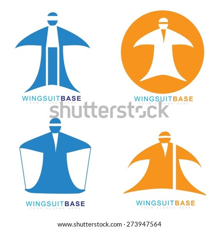 Vector logo template of wingsuit extreme sport base jumping
