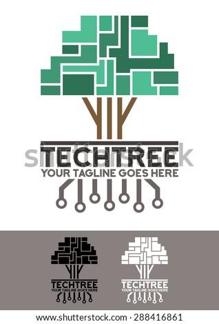 vector logo template  tech tree