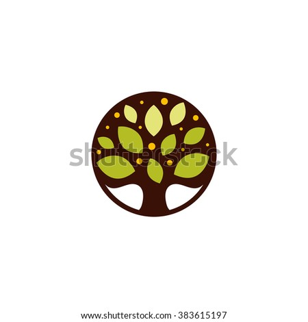 vector logo tree with green