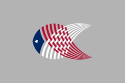 Vector Logo with fish illustration with american flag pattern.
