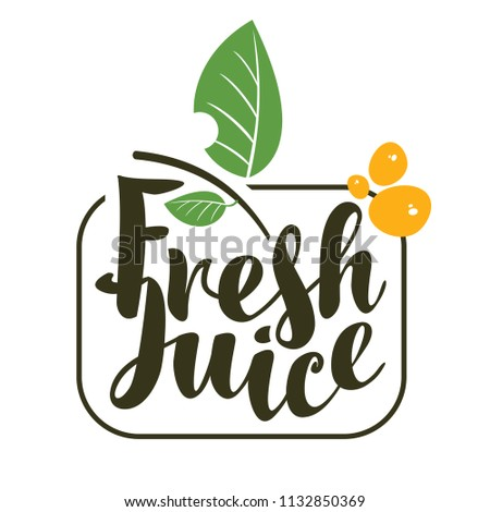 vector logo with inscription fresh juices with leaves and sprays