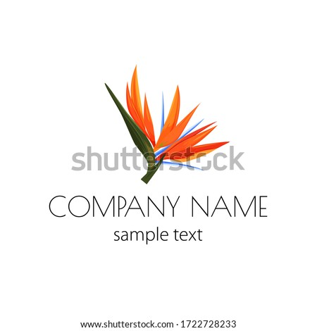 Vector logo with strelizia. Simple sign for flower shop, organic shop, restaurant with bird of paradise flower. Photo stock ©