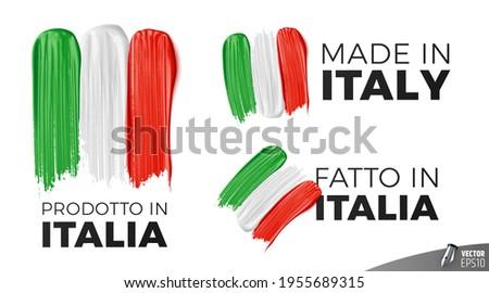 Vector logos on white background : 'Prodotto in Italia', 'Made in Italy', 'Fatto in Italia' Foto stock ©