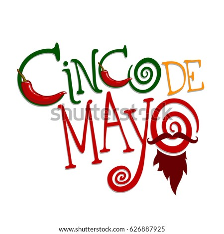 Vector logotype for cinco de mayo holiday. Isolated on white background.