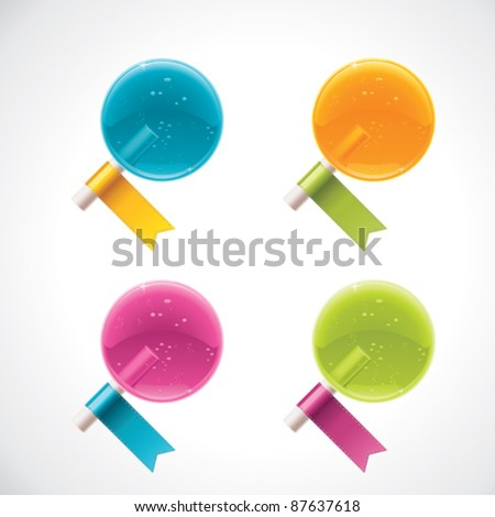 Vector lollipops candies with ribbons
