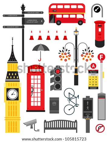 Vector London city street icon set
