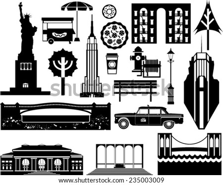 Vector London city street icon set. A set of London symbols and landmarks in silhouettes.