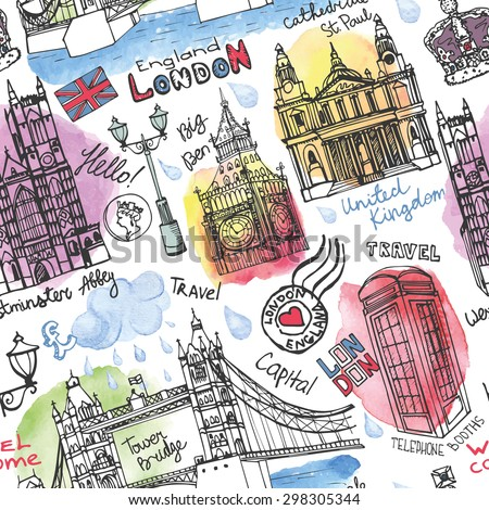 Vector London landmark seamless pattern.Vector London Watercolor splash .Doodle Hand drawn sketchy, lettering.London Famous architectural monuments ,symbols. England vintage icons,textured background