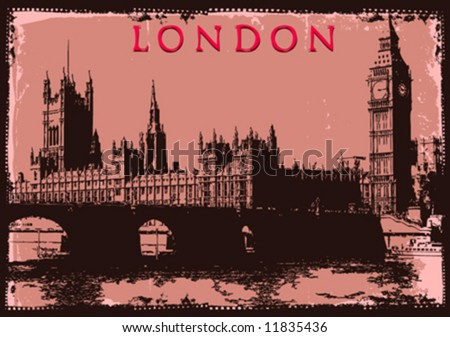 vector London post card design - stock vector